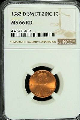 1982 SM DT ZINC LINCOLN CENT NGC MS67 RED 2ND FINEST REGISTRY  *