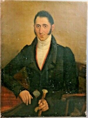 Antique 19thC American EMPIRE GENTLEMAN Earring JEWELRY Old PORTRAIT PAINTING