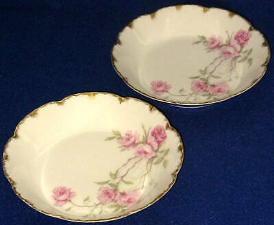 Two Antique Schleiger 1151 Haviland & Co.China  Baltimore Rose Coupe Soup Bowls
