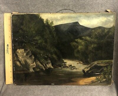 Antique 19th Century Oil Painting Hudson River White Mountain Scene NH