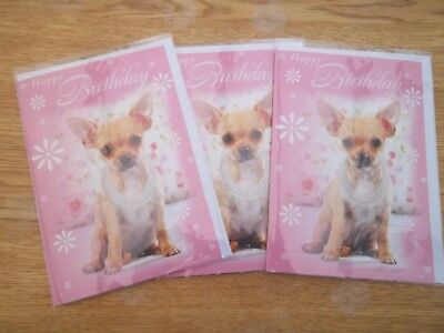 x 3 CHIHUAHUA BIRTHDAY CARDS chihuahua puppy GLITTERY SPARKLY Georgous Quality