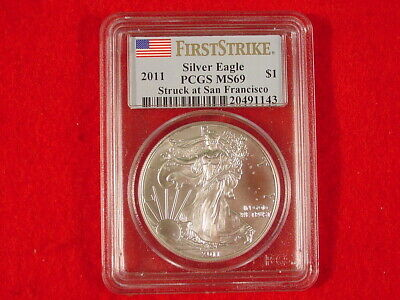 2011 First Strike American Eagle Silver Dollar PCGS MS69 GEM UNC 1 Ounce .999