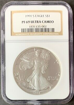 1991 S $1 Proof American Silver Eagle Dollar NGC PF69 Ultra Cameo