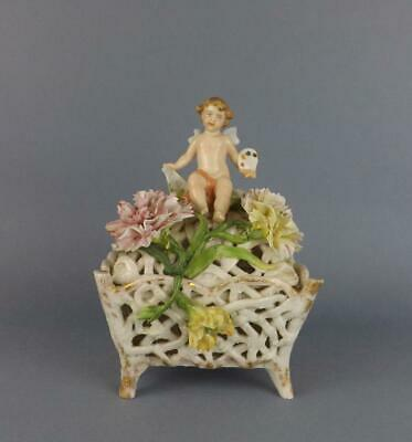 Antique Porcelain German Floral Box with a Cupid by Dresden Coburg Factory.