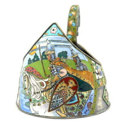 Outstanding antique Russian KOVSH Silver & Enamel from Moscow - Knight on Horse