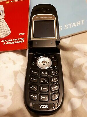 SUPERB Motorola v220 vintage mobile phone with charger, manual and instructions