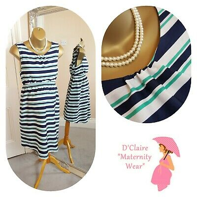 16 Designer New Look White Green Navy Striped Maternity Dress See Other Items