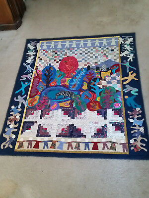 "Folk Art Quilt Pieced, Appliqued, and Embroidered - ""Dreaming in Color"""