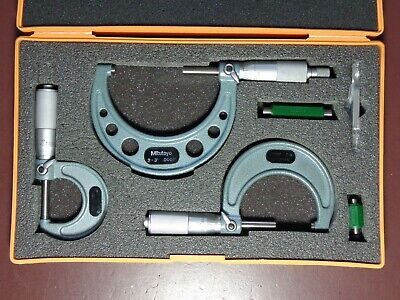"Mitutoyo  0-3"" Outside Micrometer 3 Pc Set 103-929 In Case No Reserve! Must See!"