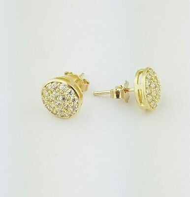 f4b1d1b67 10k Solid Yellow Gold Round Diamond Pave Stud Earrings Push Back Women/ Children
