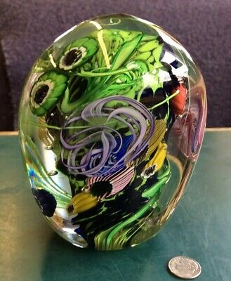 Gorgeous Signed Large Sealife Art Glass Paperweight
