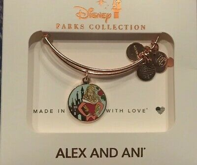 Disney Alex and Ani Sleeping Beauty Aurora Charm Two Sided Bangle Rose Gold