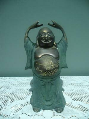 Painted Metal Figurine - Laughing Buddha - Hands Raised - Etched Tummy - Vintage