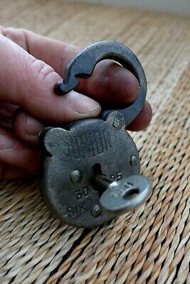Antique vintage Union padlock with one key, working order, collector hobby 30-13