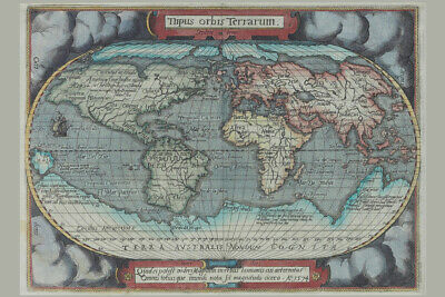 Old World Atlas Antique Style Map Poster 18x12 inch