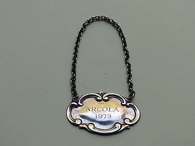 Vintage Tiffany & Co 1973 ARCOLA  Sterling Silver Bottle Decanter Hang Tag