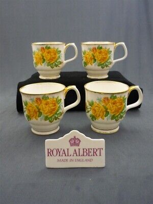 4- Royal Albert Yellow Tea Rose Bone China Montrose Hot Chocolate Coffee Mugs