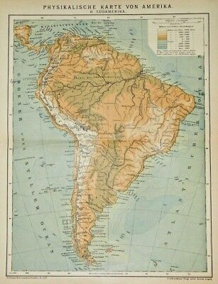 1895 Color Lithograph Physical Map South America - German Printing