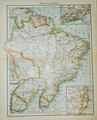 1895 Color Lithograph Physical Map Brazil - German Printing