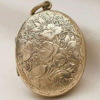 Antique Victorian Gold Filled GF Double Sided Flower Locket