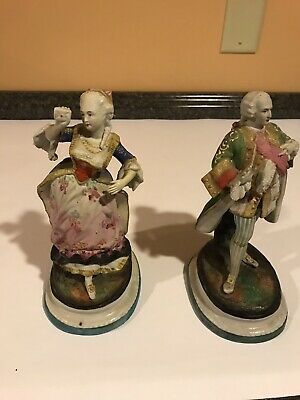 "Pair of Antique Bisque Porcelain Victorian Figurines 8"" Tall, French, German"