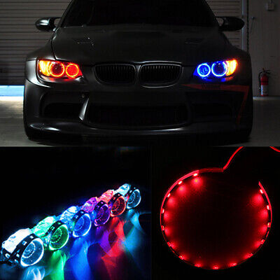 2Pcs Red LED Lights Devil Eyes Demon Eye For Auto Headlight Projector Lens Rings