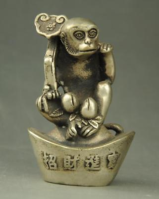 china old copper plating silver hand engraving monkey peach yuanbao statue b02