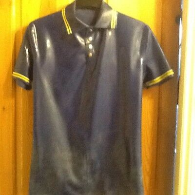 Mens Fettish Rubber polo Shirt.XL. By Rubber Bob.Blue with yellow trim.Studded