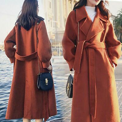 Women Girl Warm Wool Lapel Long Coat Trench Parka Jacket Overcoat Outwear UK