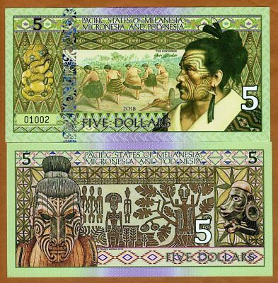 Pacific States of MMP, $5 Private Issue Polymer > Natives, Field Workers, Mask