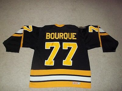 VTG Rare Ray Bourque Boston Bruins CCM Air Knit Maska sewn  77 Black sz M f59d07ced