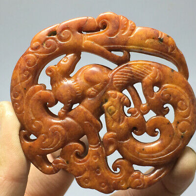 48g Exquisite Chinese old jade Hand carved amulet pendant a9