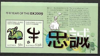 1 x 2009 Christmas Island Mini Sheet (Year of the Ox stamps)  CV $4.00
