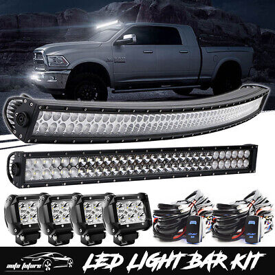 """Curved 54''inch LED Light Bar +32""""+4x4"""" Pods Work Lamp Offroad Turck 4WD SUV UTE"""