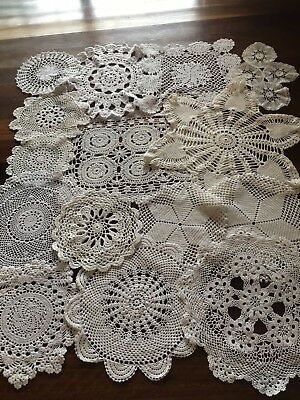 Lot of 15 Vintage Cream & White Crocheted Lace Doilies Centres Craft or Use