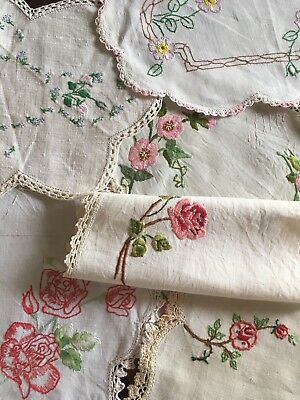 6 Pretty Vintage Linen Rose, Bud Embroidered Centrepieces Doilies Craft or Use