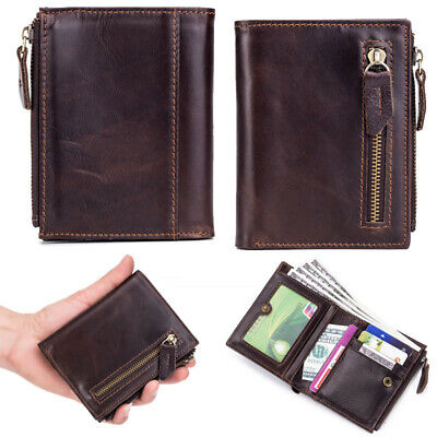 Retro Men's Genuine Leather Billfold Zipper Wallet Credit Card Holder Purse Coin