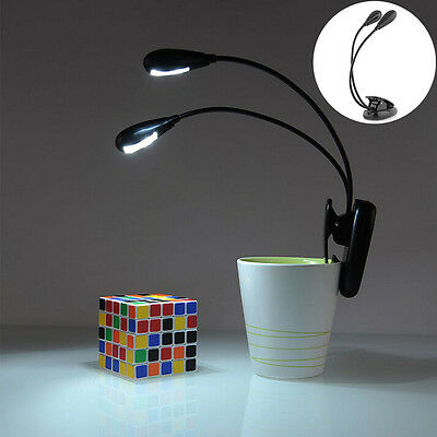 Flexible 4 LED Dual Arm Clip-on Reading Study Desk Laptop Light Table book Lamp&