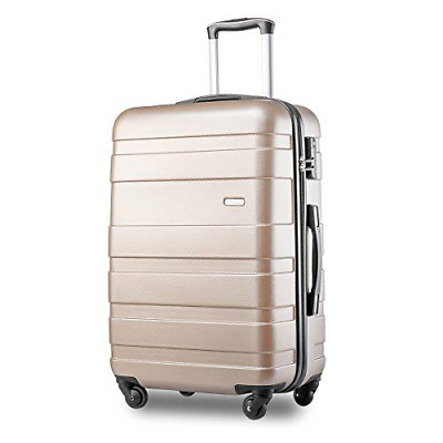 Merax ABS Hard Shell Carry On Cabin Hand Luggage Suitcase with 4 Wheels Golden