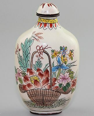 Chinese Colored enamel copper carving Snuff Bottles A3545