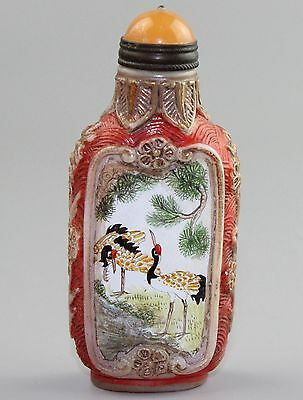 Chinese Peking Glass carving Snuff Bottles A3356