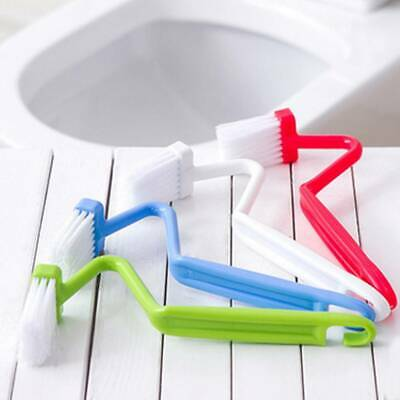 S Plastic Curved Toilet Cleaning Brush Corner Rim Cleaner Bent Bowl Handle