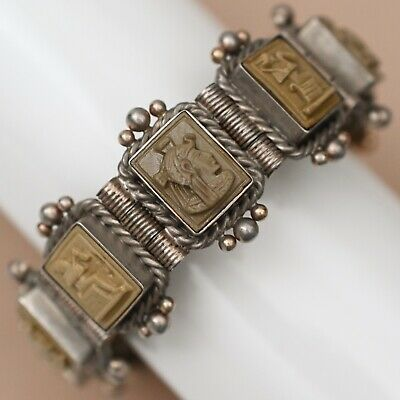 Antique Victorian Silver Austro Hungarian Lava Cameo Egyptian Revival Bracelet