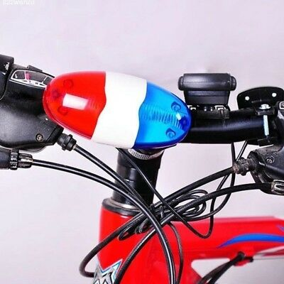 New Bike Bicycle 6 LED 4 Sounds Horn Bell Ring Police Car Light Trumpet GP3