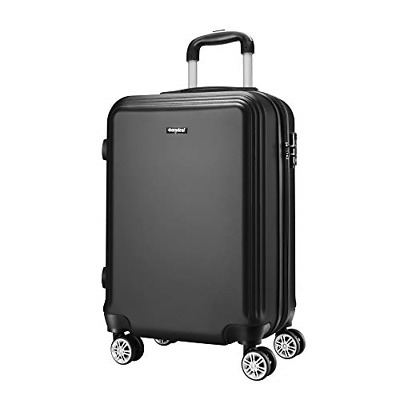 """Cabin Luggage 20"""" Black, Super Lightweight ABS Hard Shell Travel Carry On 4 for"""