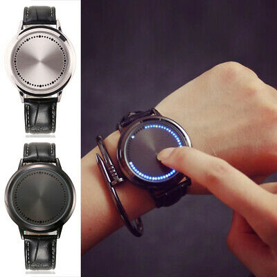 Unisex LED Digital Watches Touch Screen Leather Band Sport Wristwatch Waterproof