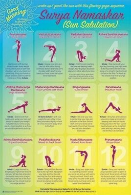 Yoga Sun Salutation Poses Reference Chart Poster 24x36 inch