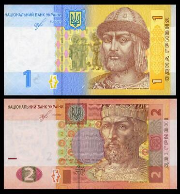 UKRAINE NEW DATE AND SIGNATURE SET 2 NOTES 1 & 2 HRYVEN 2018 sign. SMOLIY Unc