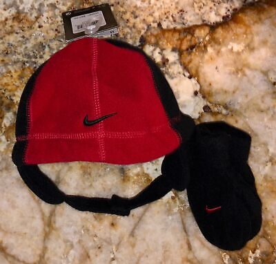 53ff197b33e NIKE Swoosh Logo Fleece Beanie Red Black Hat Mitten Set NEW Toddler O S 2T