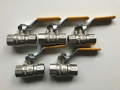 "5 x 1/2"" Female BSPT Ball Valve - GAS, AIR & WATER USE - Lever Handle"